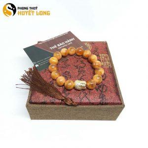 Vòng Tay Huyết Long Vip 12 Ly Mix Mặt Phật Xi Vàng