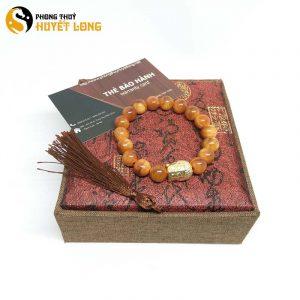 Vòng Tay Huyết Long Vip 10Ly Mix Mặt Phật Bạc Xi Vàng