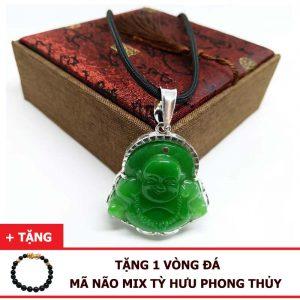 Dây Chuyền Phật Di Lặc Đá Mã Não Xanh Tự Nhiên Bọc Bạc 925 (Size Nam)