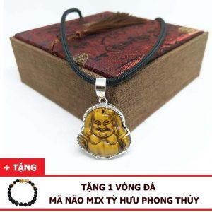 Dây Chuyền Mặt Phật Di Lặc Đá Mắt Hổ Tự Nhiên Bọc Bạc 925 (Size Nữ)