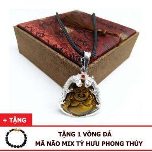 Dây Chuyền Mặt Phật Di Lặc Đá Mắt Hổ Tự Nhiên Bọc Bạc 925 Chạm Rồng