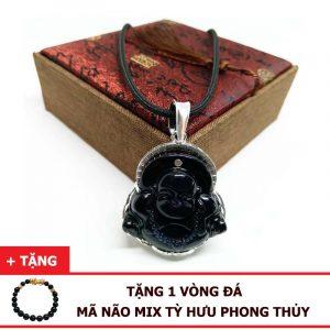 Dây Chuyền Phật Di Lặc Đá Mã Não Đen Tự Nhiên Bọc Bạc 925 (Size Nam)