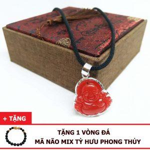 Dây Chuyền Phật Di Lặc Đá Mã Não Đỏ Tự Nhiên Bọc Bạc 925 (Size Nữ)